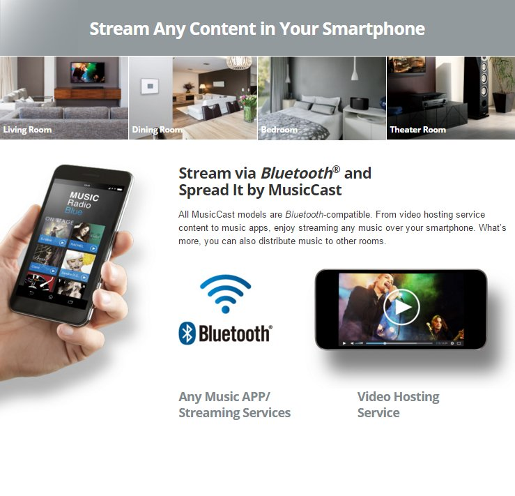 Stream via Bluetooth® and Spread It by MusicCast All MusicCast models are Bluetooth-compatible. From video hosting service content to music apps, enjoy streaming any music over your smartphone. What's more, you can also distribute music to other rooms.