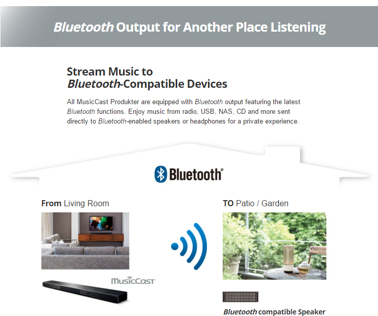 Stream Music to Bluetooth-Compatible Devices All MusicCast Produkter are equipped with Bluetooth output featuring the latest Bluetooth functions. Enjoy music from radio, USB, NAS, CD and more sent directly to Bluetooth-enabled speakers or headphones for a private experience.