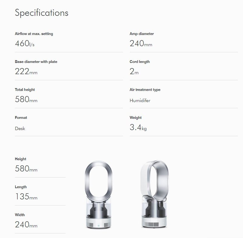 Dyson AM10 Specifications