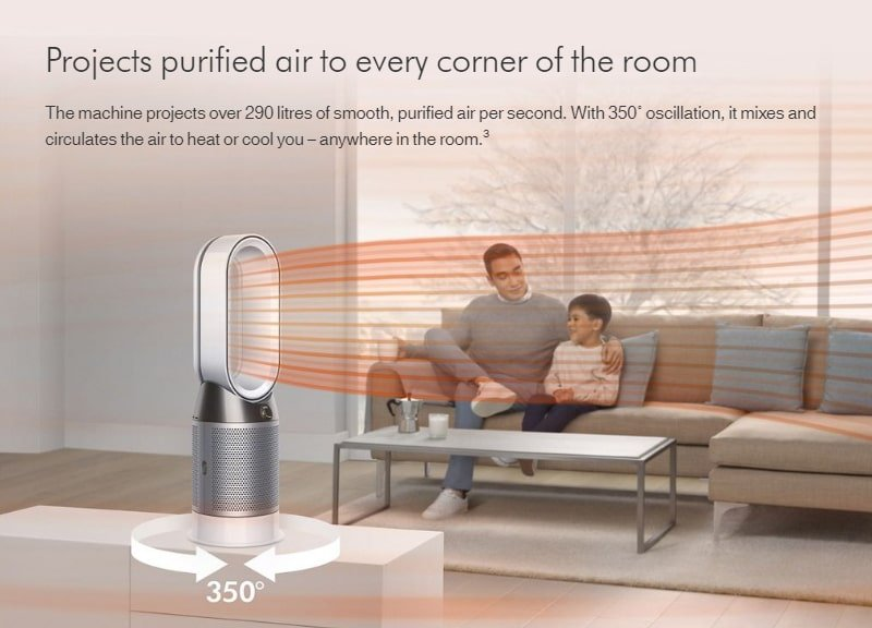 Dyson projects purified air to every corner