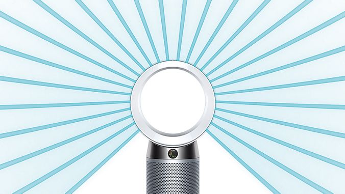Dyson DP04 projects powerful airflow