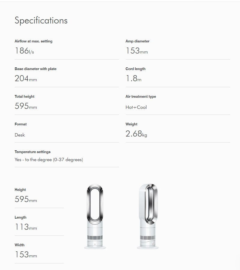 Dyson AM09 Specifications