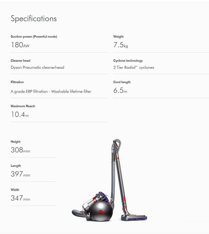 Dyson Big Ball Animal 2 Specifications