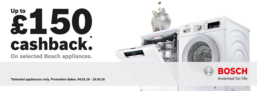 Claim Up to £150 Cashback from Bosch