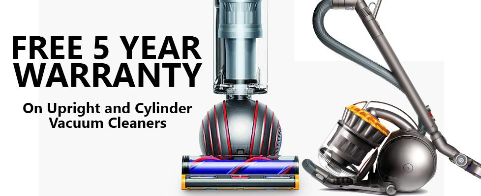 Free 5 Year Warranty on Upright Dyson Vacuum Cleaners