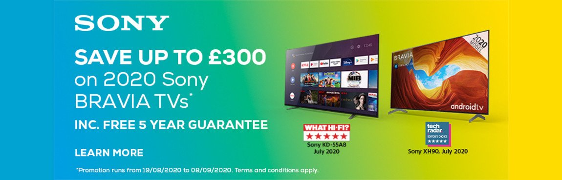 Sony Save up to £300 on Selected Sony Televisions