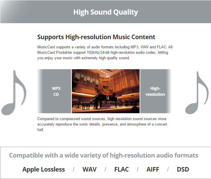 Supports High-resolution Music Content MusicCast supports a variety of audio formats including MP3, WAV and FLAC. All MusicCast Produkter support 192kHz/24-bit high-resolution audio codec, letting you enjoy your music with extremely high quality sound.