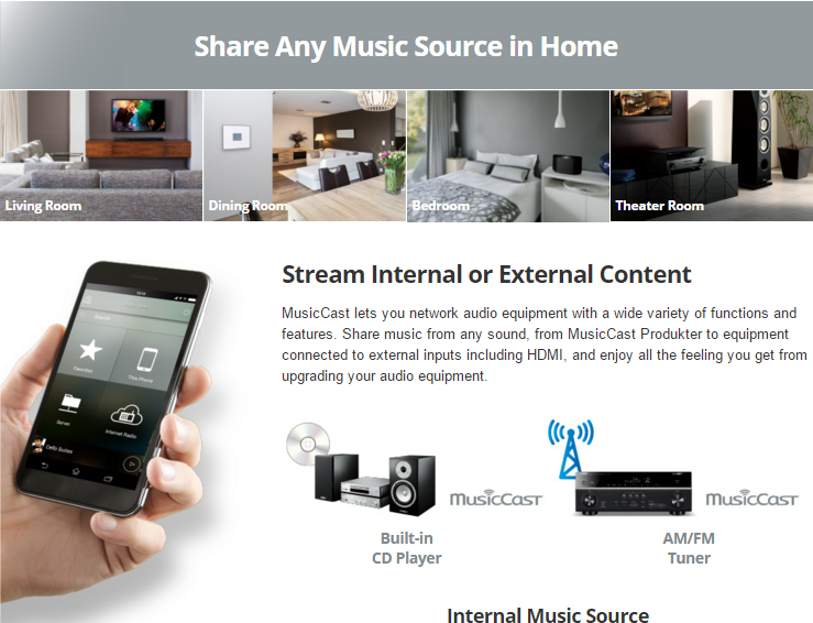 Stream Internal or External Content MusicCast lets you network audio equipment with a wide variety of functions and features. Share music from any sound, from MusicCast Produkter to equipment connected to external inputs including HDMI, and enjoy all the feeling you get from upgrading your audio equipment.