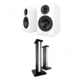 Acoustic Energy AE300 Piano Gloss White Speakers And Matching Stands