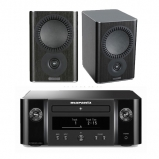 Marantz MCR412 True HiFi CD System Black with Mission QX1 Bookshelf Speaker Pair Black