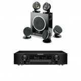 Marantz NR1609 Black AV Receiver with HEOS and Focal Dome Flax 5.1 & Sub Air in Black