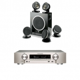Marantz NR1609 Silver Gold AV Receiver with HEOS in Silver and Focal Dome Flax 5.1 & Sub Air in Black