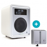 Ruark R1 MK3 Deluxe table top radio with Bluetooth in White with BackPack II Battery Pack