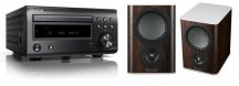 Denon DM41 RC-DM41DAB Micro Hi-Fi CD Receiver in Black with Mission QX-1 Bookshelf Speaker Pair in Walnut