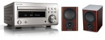 Denon DM41 RC-DM41DAB Micro Hi-Fi CD Receiver in Silver with Mission QX-1 Bookshelf Speaker Pair in Rosewood