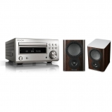 Denon DM41 RC-DM41DAB Micro Hi-Fi CD Receiver in Silver with Mission QX-1 Bookshelf Speaker Pair in Walnut