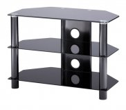 Tru-Vue TRU800-BK Small Black Glass TV Stand for TVs up to 42 inch
