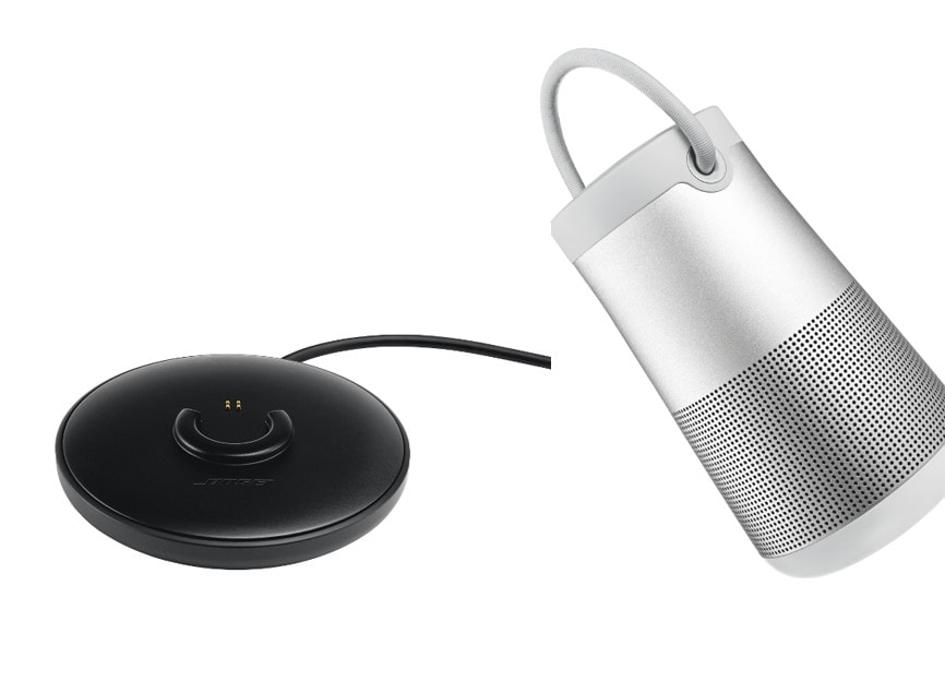 Bose® SoundLink® Revolve+ Bluetooth® Speaker in Lux Grey with charging cradle