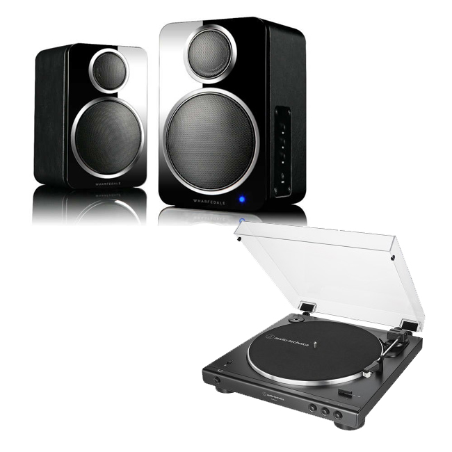 Image of Audio Technica ATLP60XBTBK Fully Automatic Stereo Turntable Black with Wharfedale DS-2 Wireless Speaker Pair Black