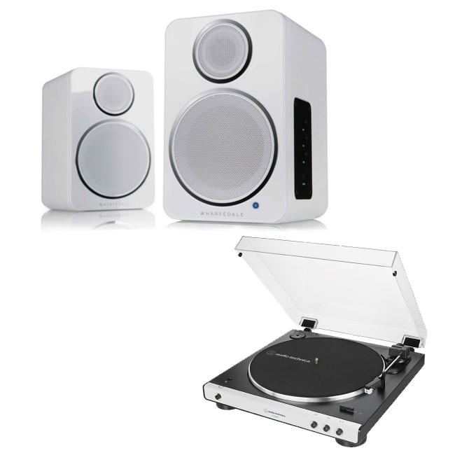 Image of Audio Technica ATLP60XBT Fully Automatic Stereo Turntable White with Wharfedale DS-2 Wireless Speaker Pair White