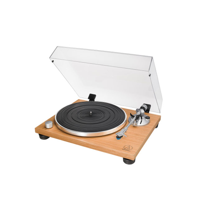 Audio Technica ATLPW30TK Fully Manual Belt-Drive Wood Base Turntable Side View