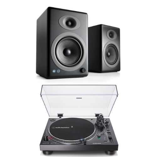 Image of Audio Technica AT-LP120XUSBBK Manual Direct Drive Turntable (Analogue & USB) Black With Audioengine A5+ Bluetooth Speaker System Satin Black