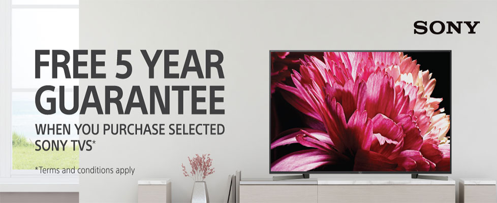 Sony TVs Free 5 Year Warranty