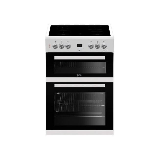 Beko EDC633W 60cm Double Oven Electric Cooker with Ceramic Hob White