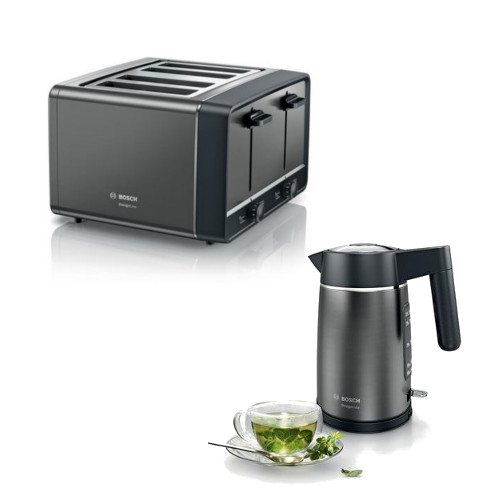 Bosch TWK5P475GB Kettle and Bosch TAT5P445GB 4 Slice Toaster in Anthracite
