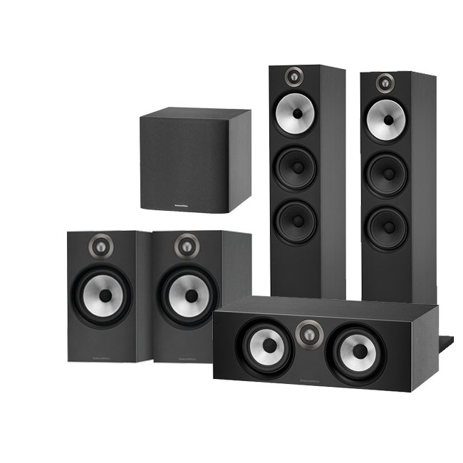 Bowers & Wilkins 603 AV 5.1 Speaker Package with 606 Speakers HTM6 Centre and ASW608 Subwoofer Black