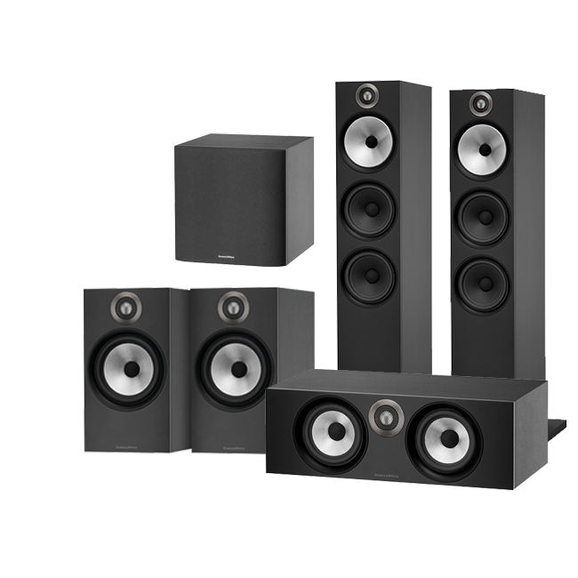 Bowers & Wilkins 603 AV 5.1 Speaker Package with 607 Speakers HTM6 Centre and ASW608 Subwoofer Black