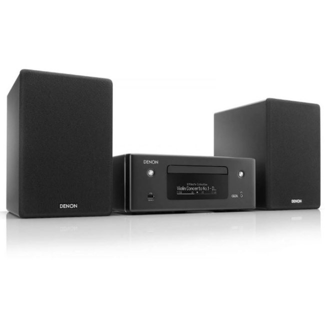 Denon CEOLN10 HiFi Network CD Receiver with HEOS and pair of SCN10BKEM Speakers in Black