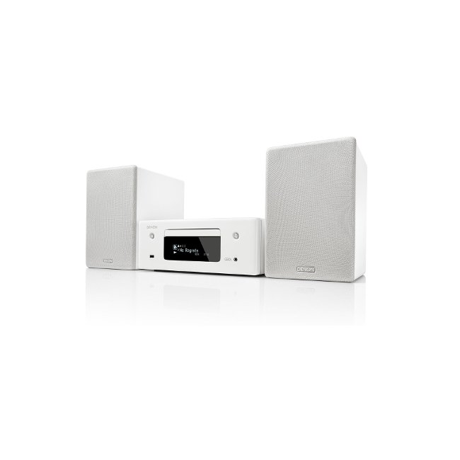 Denon CEOLN10 HiFi Network CD Receiver with HEOS and pair of SCN10WTEM Speakers in White