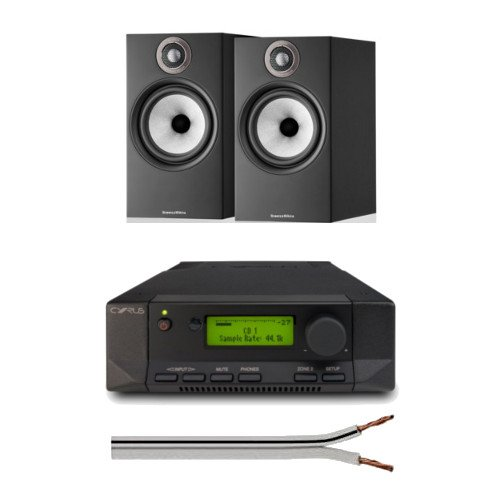Cyrus 82 DAC Integrated Amplifier with Bowers and Wilkins 606 S2 Anniversary Edition Bookshelf Speakers Black with Free 6 Metre Speaker Cable