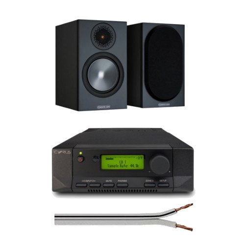 Cyrus 82 DAC Integrated Amplifier with Monitor Audio Bronze 50 Bookshelf Speakers Black with Free 6 Metre Speaker Cable