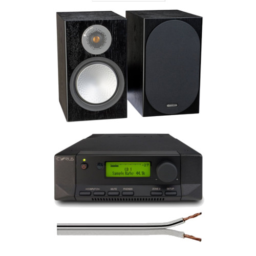 Cyrus 82 DAC Integrated Amplifier with Monitor Audio Silver 50 Bookshelf Speakers Black with Free 6 Metre Speaker Cable