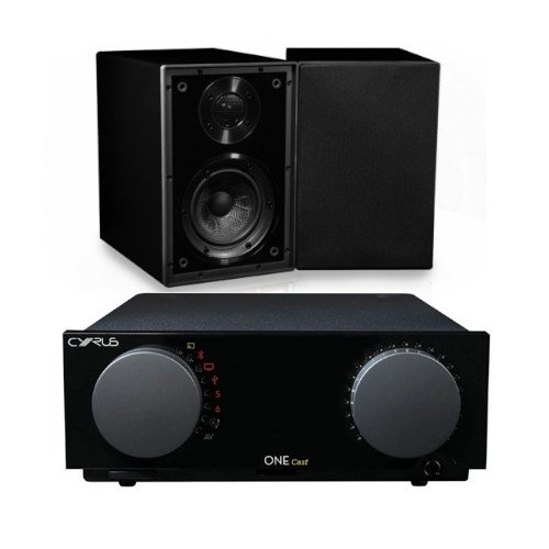 Cyrus ONE CAST HIFI Streaming Amplifier With Cyrus One Linear Bookshelf Speakers Black