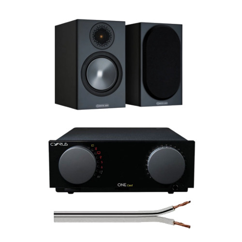 Cyrus One CAST HIFI Streaming Amplifier with Monitor Audio Bronze 50 Bookshelf Speakers Black Oak and Free 6 Metre Speaker Cable