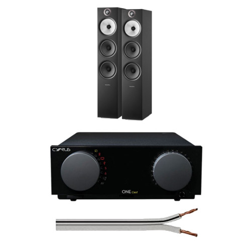 Image of Cyrus One Integrated Amplifier with Bowers and Wilkins 603 S2 Anniversary Edition Floorstanding Speakers Black with Free 6 Metre Speaker Cable