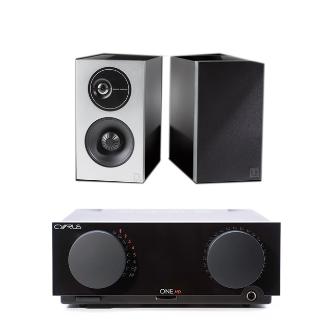 Image of Cyrus One HD Integrated Amplifier with Bluetooth with Definitive Technology Demand D9 Bookshelf Speakers Piano Black