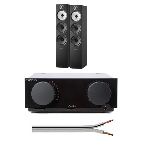 Cyrus One Cast HIFI Streaming Amplifier with Bowers and Wilkins 603 S2 Anniversary Edition Floorstanding Speakers Black and Free 6 Metre Speaker Cable