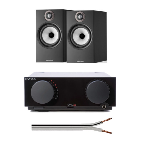 Image of Cyrus One HD Integrated Amplifier with Bowers and Wilkins 606 S2 Anniversary Edition Bookshelf Speakers Black and Free 6 Metre Speaker Cable
