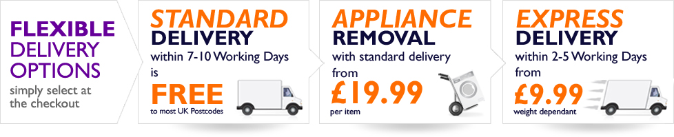 Flexible Delivery Options at electricshop - Standard Delivery, Appliance removal and Express delivery