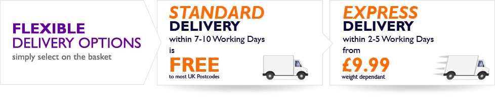 Flexible Delivery Options - Free standard UK Mainland delivery or upgrade to our express delivery service from 9.99
