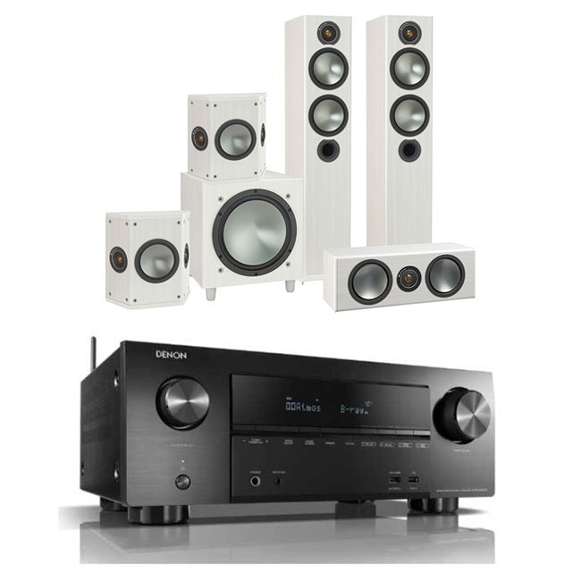 Denon AVRX2500H AV Receiver with Monitor Audio Bronze 5 AV 5.1 Speaker package White Ash