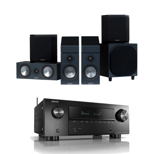 Amplifiers & Receivers Denon AVRX2700H 7.2 ch 8K AV Receiver with Monitor Audio Bronze 50 AMS 5.1.2 Dolby Atmos Speaker Package Black