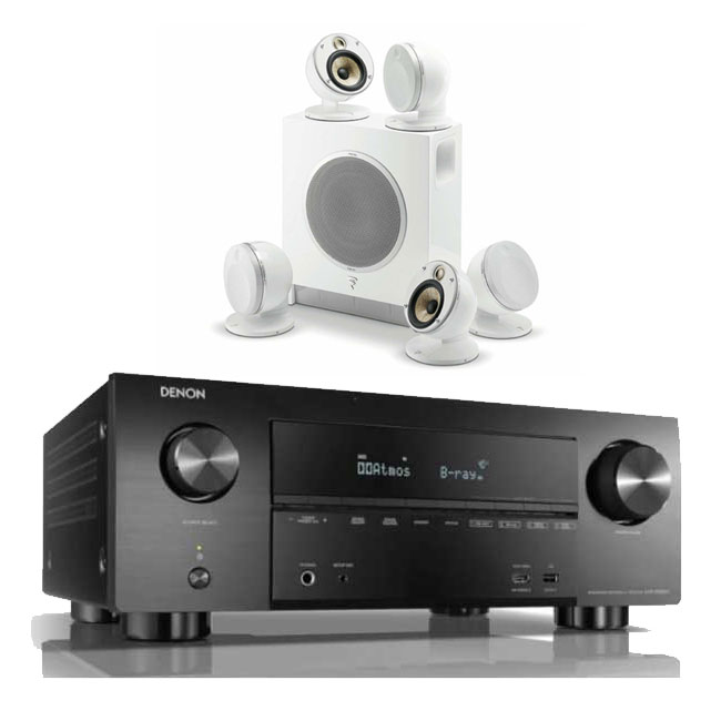Denon AVRX3500H AV Receiver 3 Year Warranty in Black with Focal Dome Flax 5.1 & Sub Air in White