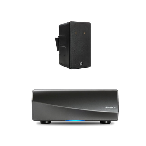 Denon HEOS Amp HS2 Wireless Multiroom Amplifer with Monitor Audio Climate 60 T2 Single Stereo Outdoor Satellite Speaker Black