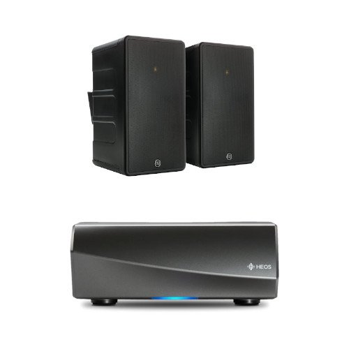 Denon HEOS Amp HS2 Wireless Multiroom Amplifier with Monitor Audio Climate 50 Outdoor Speakers Pair Black