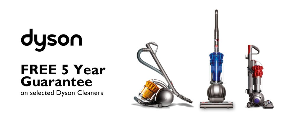 Free 5 Year Warranty with Dyson Vacuum Cleaners